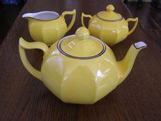 Antique Art Deco Yellow Tea Set Teapot Z S & CO Bavaria Germany