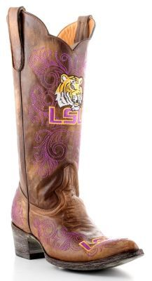 The Louisiana State University boots from Gameday Boots are the perfect footwear for a Lsu tailgater, game or party Wear these ladies Louisiana State University boots with pride and show the world that you stand with the Tigers!
