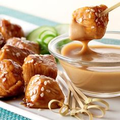 Teriyaki Chicken Bites with Peanut Sauce