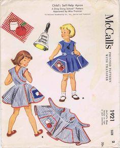 1950s Toddler Girls Self Help Apron McCalls 1921