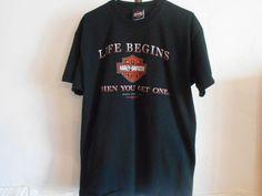 Harley Davidson T-Shirt X Large Black Life Begin When You Get One Rogers Ar 6020 #HarleyDavidson