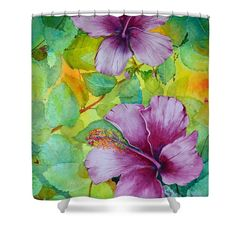 """Hibiscus In Violet Shower Curtain for sale by Terri Robertson.  This shower curtain is made from 100% polyester fabric and includes 12 holes at the top of the curtain for simple hanging.  The total dimensions of the shower curtain are 71"""" wide x 74"""" tall."""