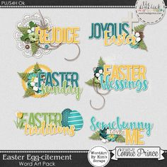 Easter Egg-citement - Word Art by Kim using Easter Egg-citement by Connie Prince. Includes 6 clustered word art elements, saved in PNG format. Scrap for hire / others ok.