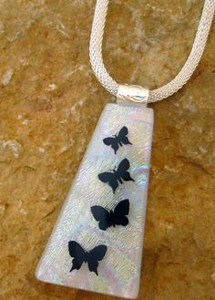 Butterfly Pendant Fused Glass Butterfly Necklace White by GlassCat, $30.00