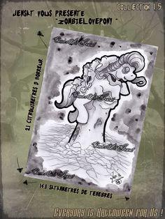 """Hey again !  Je vous propose également un petit délire de dernière minute """"Zombielovepoy"""".  Format A5 sur du papier 210g.   La recette du crayon gris kidnappeur de petit poney et de l'aquarelle poussiéreux pour le fond.   Pour tous renseignements n'hésitez pas a me contacter sur ma page Comic's art Jensat, l'original est disponible a la vente.  INFOS ici: https://www.facebook.com/ComicsArtJensat"""