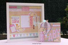 Jardinet de paper Scrapbooking: Layout y mini álbum para bebé a juego