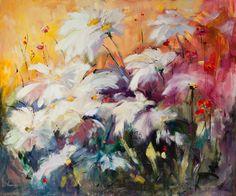 Fleurs d'ambre - Oil on canvas Chantal Julien, painting artist