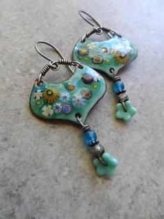 Sea Life ... Artisan-Made Enameled Copper Glass Headpins with