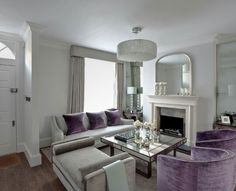Grey And Purple Living Room interior: refined elegance | mauve living room, mauve and living rooms