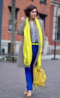 Neon yellow & cobalt blue - LOVE it by my style pill, via Flickr