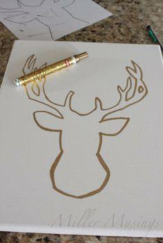 Miller Musings: DIY Glittery Reindeer Canvas