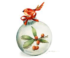 Holiday Season Watercolor Painting - Christmas Ornament with Holly illustration