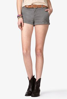 Denim Shorts w/ Braided Belt | FOREVER 21 - 2035264952