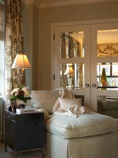 mirrors on closet doors - makes a big difference on those unsightly plain doors    .... I also just love this look