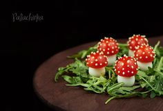 Forrest Mushrooms--so cute...I would use mozarella cheese balls instead of quail eggs for the base. Top is half baby tomato