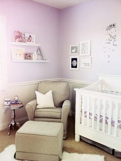 Lavender and grey nursery. Adorable, and not overly girly like baby pink!