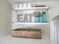 Kitchen Shelves {Decorating above the Fridge}