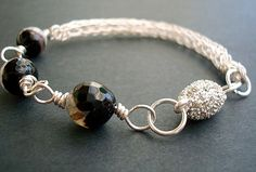 Bracelet Star Storm Viking Knit Banded Black and by CrookedCrystal, $26.99