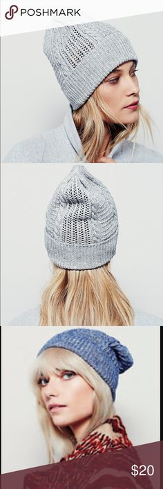Free People Steep Slope Beanie Free People Steep Slope beanie in grey. The model in the photos of the color I am selling has it on a bit odd - I showed a picture of the blue color because that is how I would wear it and how it looks. It's slightly slouchy on. Has a gold metal FP tag on front and mixed crochet styling throughout. Worn maybe a few times - like new. Free People Accessories Hats