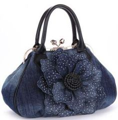 Vogue Star 2017 Top Quality Brand New Women Bag Fashion Denim Handbags Flower Shoulder Bags Design Womens Tote Bags LS376