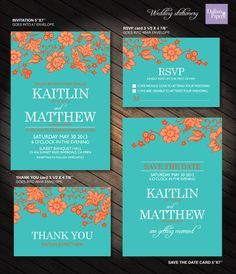 Turquoise and Orange Flower Wedding Printables by DallinsPaperie, $30.00