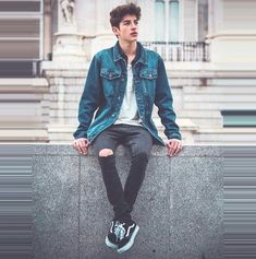 39 Amazing Casual Outfit For Boys With Denim Jacket - Jeansjacke Outfit Mode Outfits, Casual Outfits, Men Casual, Outfits For Boys, Festival Make Up, Teen Boy Fashion, Mens Fashion, Denim Jacket Men, Denim Jackets