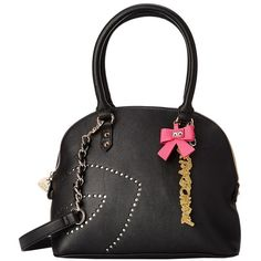 Betsey Johnson First Kiss Dome Satchel (Black) Satchel Handbags ($63) ❤ liked on Polyvore featuring bags, handbags, black, chain handle purse, betsey johnson handbags, dome satchel, chain handle handbags and betsey johnson