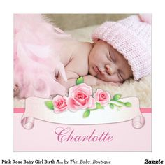 Pink Rose Baby Girl Birth Announcements