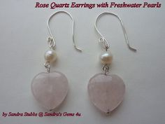 Rose Quartz Heart Earrings with Freshwater Pearls by Sandrasgems4u, $14.95