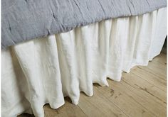 Belgian Oyster White Linen Bed Skirt with Gathered Ruffles