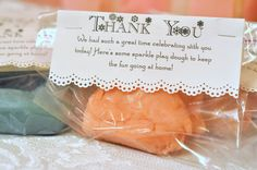 DIY sparkle play dough party favors. Clever package, simple favor. Love it.