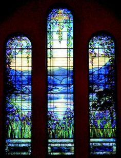 Gorgeous iris windows by Stained Glass Window by Louis C. at the Theodore Parker Unitarian Universalist Church, West Roxbury MA Stained Glass Designs, Stained Glass Art, Stained Glass Windows, Mosaic Glass, Fused Glass, Stained Glass Church, Mosaic Mirrors, Mosaic Wall, Tiffany Stained Glass