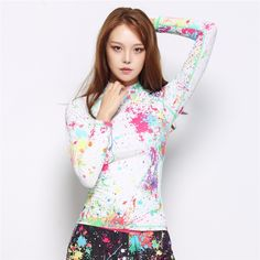 45.00$  Buy now - http://ali5kj.shopchina.info/go.php?t=32797438729 - Summer Beach Diving Swimwear Tops for  Women Rash Guard Shirts Long Sleeve Surfing T-Shirts Graffiti Printing Female Swimsuits  #magazineonlinewebsite