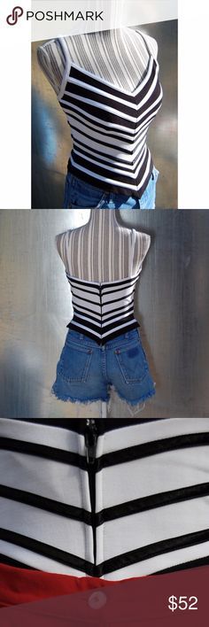 """Vintage Black & White Bodycon Tank Top by Tadashi Vintage Structured Bodycon Tank. Stripes are shiny & satin-like. Zip closure w/ eye hook in back. Low V-neck line.  Fitted - structured, but w/ plenty of stretch. Size: Tag says Medium. Please see measurements to make sure it will fit. Amazing condition! No issues.  Stretchy nylon-lycra blend. Stripes-polyester. Dry clean only. 20"""" total length from top strap to bottom of the v hem. 18"""" total length from top of strap to bottom side. ~34""""…"""