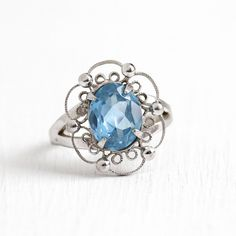 Vintage Sterling Silver Created Blue Spinel Filigree Ring Retro 1950s... ($65) ❤ liked on Polyvore featuring jewelry, blue spinel jewelry, vintage sterling silver jewelry, light blue stone jewelry, vintage filigree jewelry and vintage jewelry