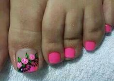 Pili Pedicure Designs, Pedicure Nail Art, Toe Nail Designs, Toe Nail Art, Acrylic Nails, Pretty Pedicures, Pretty Toe Nails, Love Nails, Pink Nails