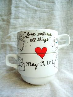 His and Hers CUSTOM WEDDING Mugs by AQuartzyLife on Etsy, $25.00 or DIY cheaply as favors?