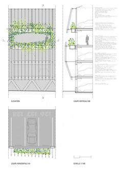 Detail & Section of the Parking in Soissons, Jacques Ferrier Architectures