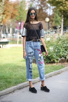 funked up denim. #GizeleOliveira #offduty in Paris.