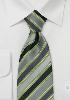 Krawatte Streifen grün grau