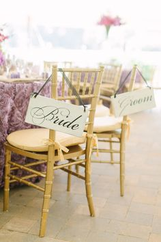 #signs, #chair-decor  Photography: Nina Mullins Photography - ninamullinsphotography.com Design: Always Planned - alwaysplanned.com  Read More: http://www.stylemepretty.com/2013/04/10/lexington-kentucky-wedding-from-nina-mullins-photography/