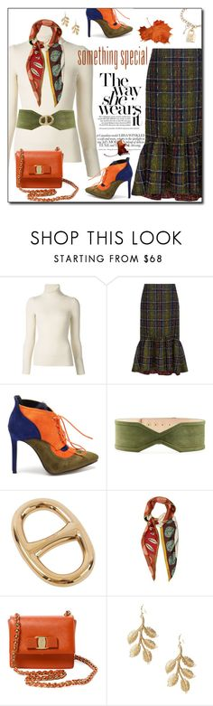 """Plaid skirt"" by sheryl-lee ❤ liked on Polyvore featuring Emanuel Ungaro, Stella Jean, Balmain, Hermès, Valentino, Salvatore Ferragamo, Eddera and Ross-Simons"
