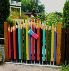 This would be cute at a Daycare or something......colored pencil gate ...