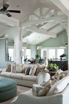 Paint beams white? How To Decorate Your Living Room With Turquoise Accents