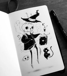 Design & Art inspiration artwork by Behemot Best Picture For Illustration art pencil For Your Taste You are. Art And Illustration, Ink Illustrations, Inspirational Artwork, Creepy Art, Anime Sketch, Halloween Art, Halloween Drawings, Cute Drawings, Artwork Drawings
