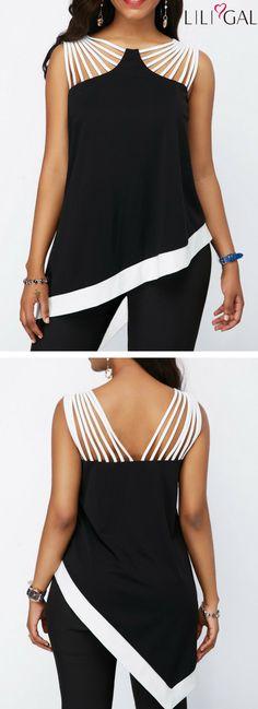 Strappy Detail Black Asymmetric Hem Blouse   #liligal #top #blouse #shirts #tshirt