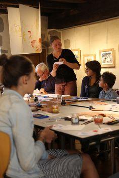 Atelier aquarelle par Julie Lamberson à la médiathèque intercommunale de Felletin ©Service Communication Communauté de Communes Creuse Grand Sud - M.S.