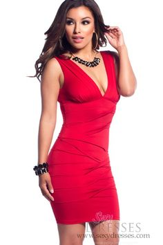 Red Pleated Deep V-Neck Plunge Dress...BUYING THIS FOR MY CRUISE :)