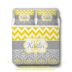 Custom Designed Damask and Chevron-Yellow and Gray Bedding, Duvet or Comforter, Personalized, Create and Design Your Own Bedding - pinned by pin4etsy.com