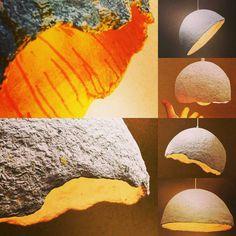 Paper mache lamp Yellow Lampshade Papier mache by pineconeinabox
